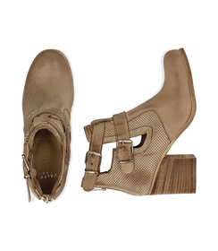 Ankle boots beige in nabuk con cinturini, tacco 7 cm, Valerio 1966, 1156T1601NBBEIG036, 003 preview