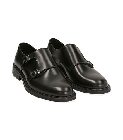 Scarpe doppia fibbia nere in pelle abrasivata, Scarpe, 1098T5480APNERO039, 002