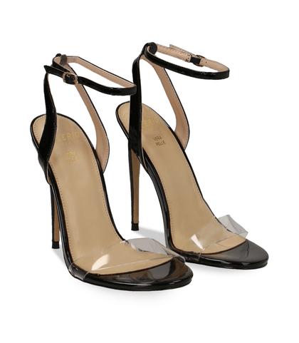 Sandali neri in eco-pelle con fascia in pvc, Scarpe, 1321T1042VENERO035, 002