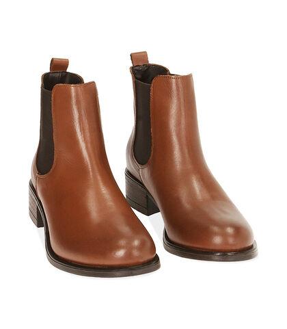 Chelsea boots cognac in pelle, tacco 4 cm , Valerio 1966, 18A5T0908PECOGN035, 002