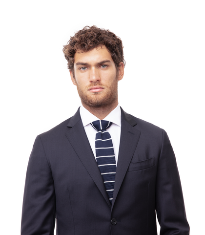 Cravatta blu/bianca rigata in cotone con fondo dritto, Accessori, 11I9T0020TSBLBIUNI, 002