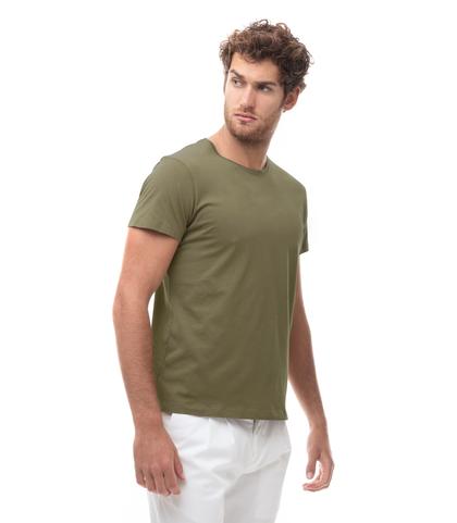 T-shirt girocollo verde in cotone, Abbigliamento, 13T6T3925TSVERDL, 001