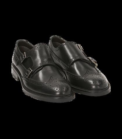 Monk strap nere in pelle di vitello, UOMO, 1677T0628VINERO039, 002