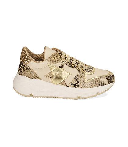 Sneakers beige in pelle stampa vipera, zeppa 4 cm, Valerio 1966, 18L6T4002PRBEIG035, 001