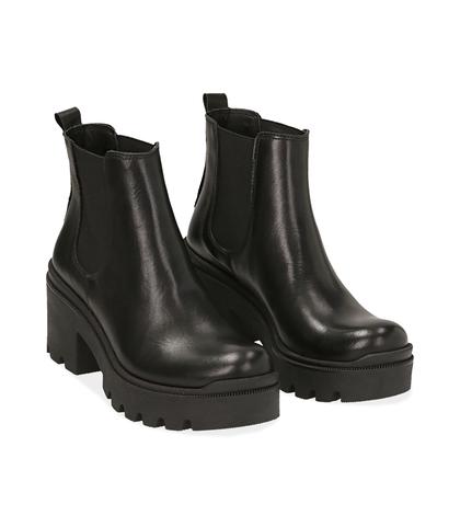 Chelsea boots neri in pelle di vitello , DONNA, 1489T0104VINERO035, 002