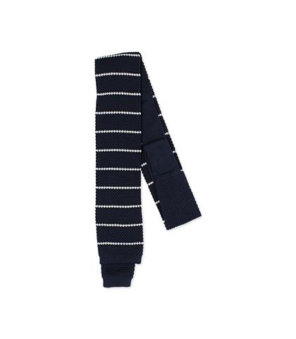 Cravatta blu/bianca rigata in cotone con fondo dritto, Accessori, 11I9T0020TSBLBIUNI, 001