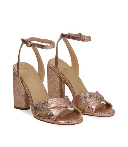 Sandali oro rosa con tacco cilindrico, Scarpe, 1321T3876LMRAOR036, 002