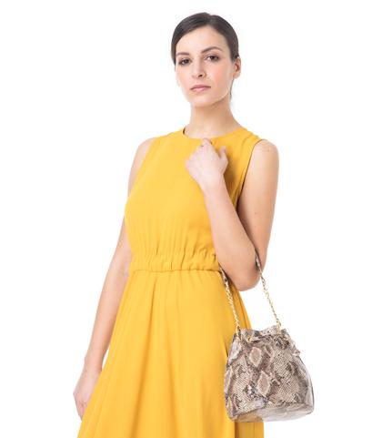 Secchiello beige in eco-pelle, effetto snake skin, DONNA, 1366T6746PTBEIGUNI, 002