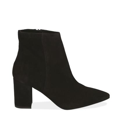 Ankle boots neri in camoscio con tacco a colonna, Scarpe, 12D6T4011CMNERO035, 001