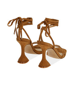 Sandali lace-up cognac in microfibra, tacco 10 cm , Valerio 1966, 1721T6413MFCOGN036, 004 preview