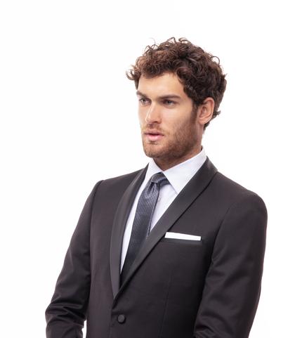 Cravatta nero/grigia in seta , Accessori, 11I9T0018TSNEGRUNI, 002
