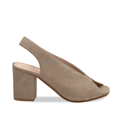 Slingback open-toe taupe in vero camoscio, Valerio 1966, 13D6T2014CMTAUP035, 001