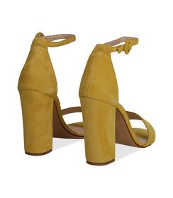 Sandali gialli in camoscio, tacco a colonna 10,50 cm, Scarpe, 13D6T0707CMGIAL036, 004 preview