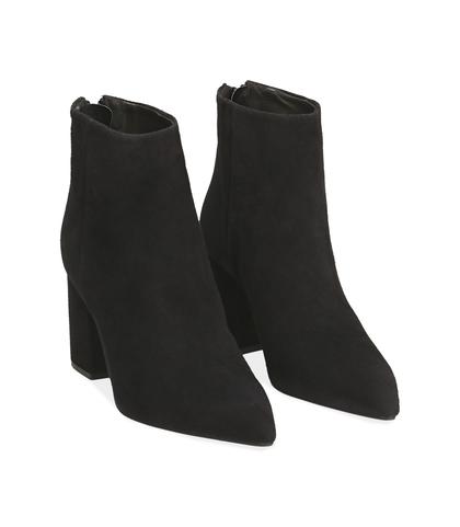 Ankle boots neri in camoscio , Valerio 1966, 14D6T0616CMNERO035, 002