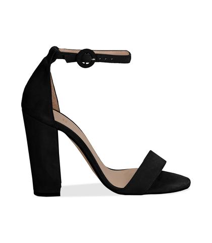 Sandali neri in camoscio, tacco a colonna 10,50 cm, Scarpe, 13D6T0707CMNERO036, 001