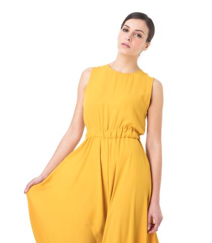 Abito lungo giallo giromanica, Abbigliamento, 13E2T1400TSGIALL, 002