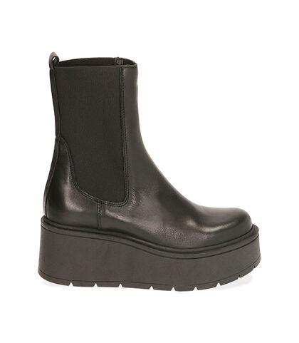 Chelsea boots neri in pelle, platform 6,5 cm , Valerio 1966, 1856T0304PENERO035, 001