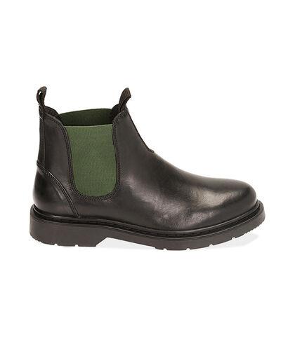 Chelsea boots nero/verde in pelle, Valerio 1966, 1877T6122PENEVE039, 001