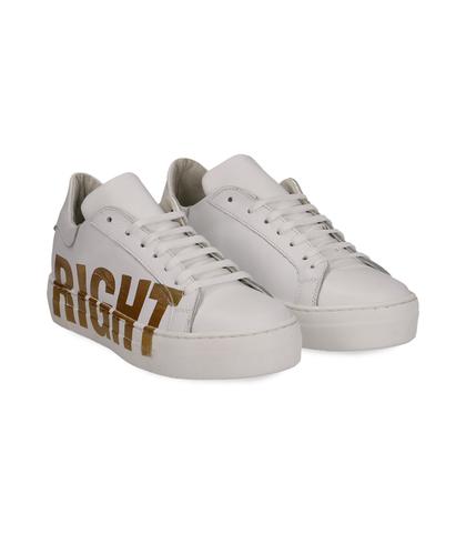 Sneakers bianche in pelle con stampa gialla, Scarpe, 13A6T9011PEBIAN036, 002