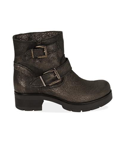 Biker boots con fibbie oro in laminato , Scarpe, 1056T0029LMOROG035, 001