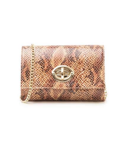 Borsa piccola cuoio in eco-pelle, effetto snake skin, Borse, 1366T6721PTCUOIUNI, 001