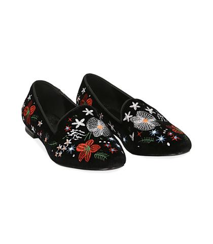 Slippers ricamate in velluto nero , Scarpe, 1024T0047VLNERO035, 002