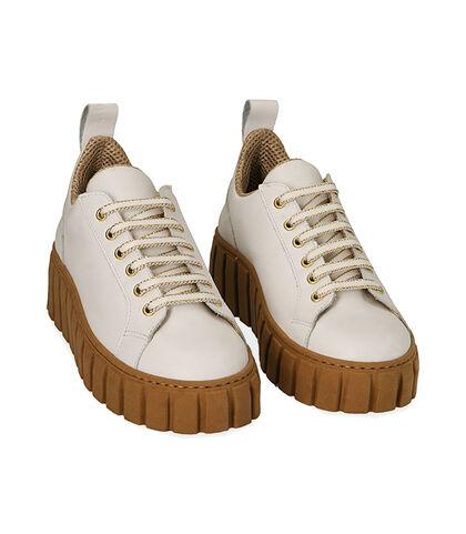Sneakers bianche in pelle, zeppa 5 cm, Valerio 1966, 18L6T2005PEBIAN035, 002