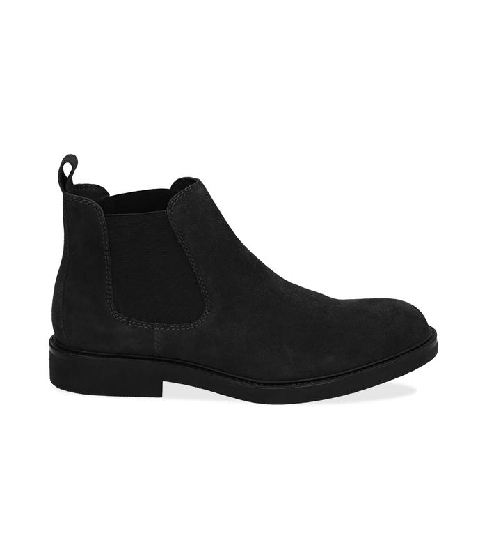 Chelsea boots neri in camoscio , Valerio 1966, 16D4T1123CMNERO041