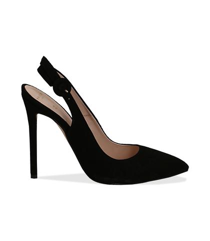 Slingback nere in camoscio, tacco 11,50 cm, Scarpe, 13D6T0102CMNERO036, 001