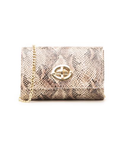 Borsa piccola beige in eco-pelle, effetto snake skin, Borse, 1366T6721PTBEIGUNI, 001