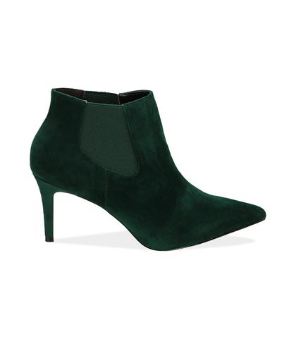 Ankle boots verdi in velluto , Scarpe, 1084T3175VLVERD035, 001