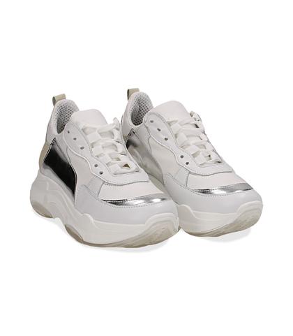 Dad shoes bianco/argento in pelle, Scarpe, 13A6T0999PEBIAR036, 002