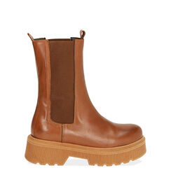 Chelsea boots cognac in pelle, tacco 5,5 cm, Valerio 1966, 18L6T4029PECOGN036, 001 preview