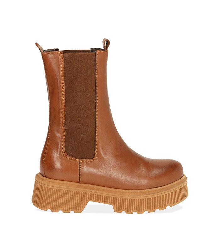 Chelsea boots cognac in pelle, tacco 5,5 cm, Valerio 1966, 18L6T4029PECOGN036