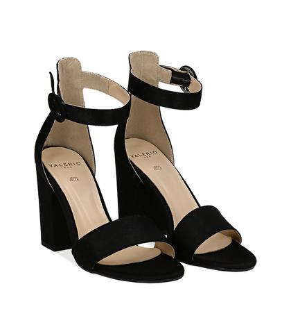 Sandali neri in raso, tacco 9 cm, Scarpe, 13A4T7096RSNERO036, 002