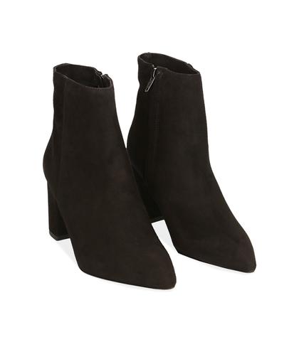 Ankle boots neri in camoscio con tacco a colonna, Scarpe, 12D6T4011CMNERO035, 002