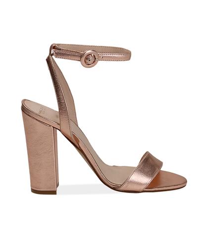 Sandali oro rosa con cinturino alla caviglia, Valerio 1966, 13D6T0703LMRAOR035, 001