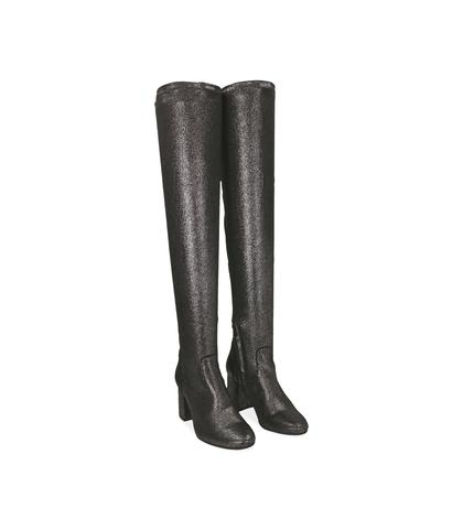Stivali overknee canna di fucile in laminato , Scarpe, 1004T0149LMCANN035, 002
