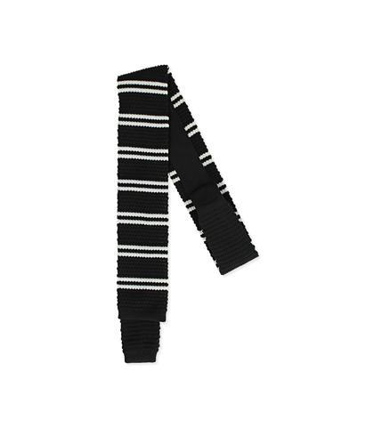 Cravatta nero/bianca rigata in cotone con fondo dritto, Valerio 1966, 11I9T0023TSNEBIUNI, 001