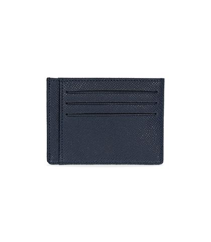 Portafoglio blu in pelle con logo embossed, Valerio 1966, 10A4T1734PEBLUEUNI, 002