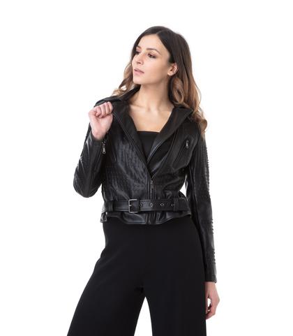 Chiodo nero in eco-pelle con mini-borchie, Abbigliamento, 1365T0021EPNEROL, 002