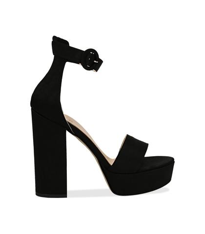 Sandali nero in raso con plateau, tacco 13 cm, Scarpe, 13A4T7532RSNERO036, 001