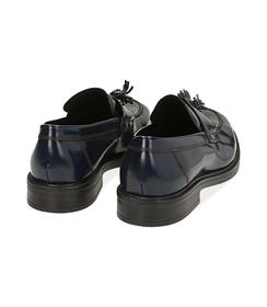 Mocassini con nappina blu in pelle abrasivata, Scarpe, 1477T0617APBLUE040, 004 preview