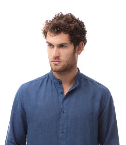 Camicia blu cobalto in lino,con collo guru, Abbigliamento, 13H9T8209TSBLCO39, 002