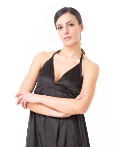 Abito lungo nero con scollo a V, Abbigliamento, 13T8T1291TSNEROL, 002