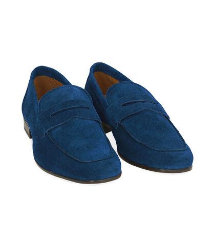 Mocassini blu in camoscio , UOMO, 1598T2318CMBLUE039, 002