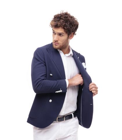 Giacca blu doppiopetto, Made in Italy, Abbigliamento, 13T1T3021TSBLUE46, 002