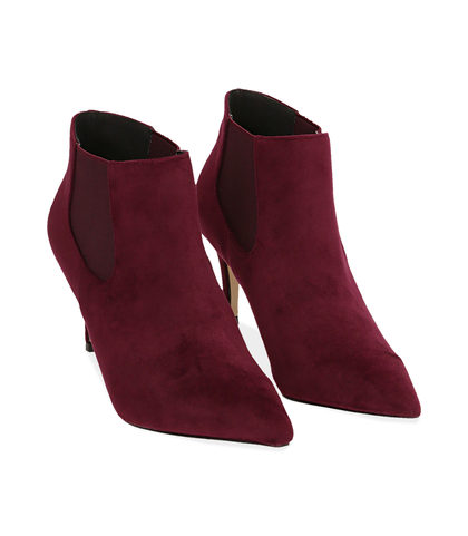 Ankle boots bordeaux in velluto , Scarpe, 1084T3175VLBORD035, 002