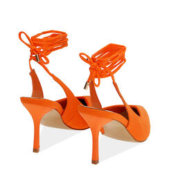 Slingback lace-up arancio in lycra, tacco 8,5 cm , Valerio 1966, 1721T6283LYARAN036, 004 preview
