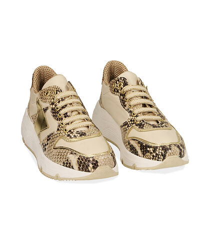 Sneakers beige in pelle stampa vipera, zeppa 4 cm, Valerio 1966, 18L6T4002PRBEIG035, 002